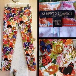 8 ALBERTO MAKALI ankle zipper skinny floral pants